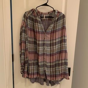 Free People Sheer Multi-Colored Flannel